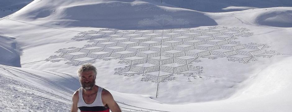 Snowboard arte Simon Beck's