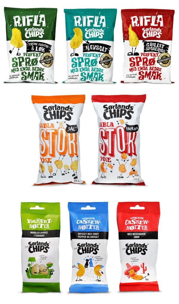 Soerlandschips packaging by Gøran Frilstad