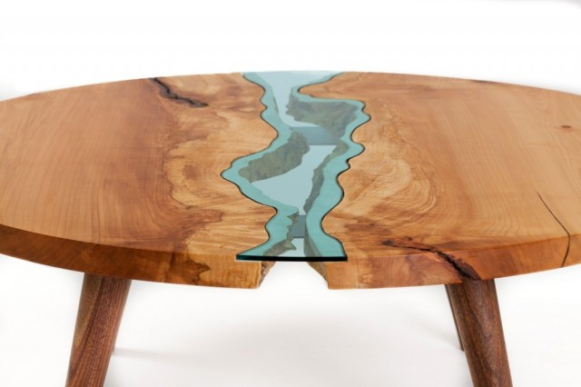 mesa redonda original de madera